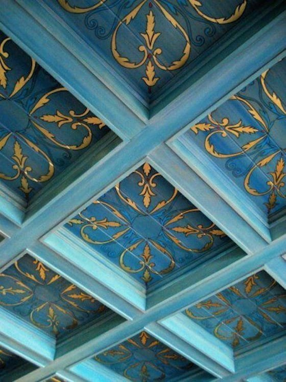 Blue coffered ceiling with decorative painting by Leonard Pardon