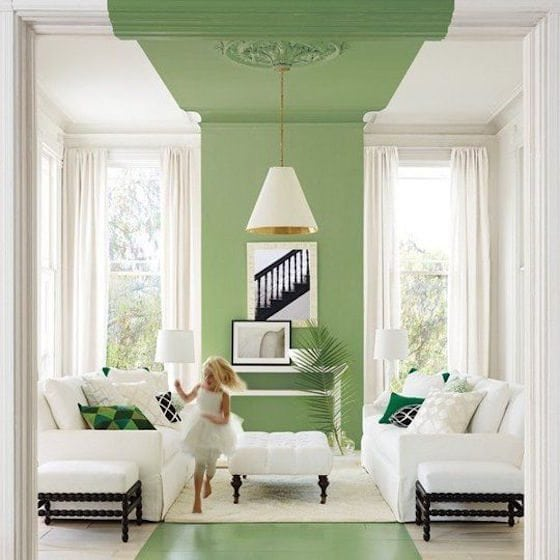 Green Painted Ceiling