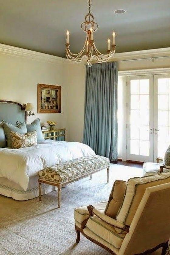 Painted ceiling in bedroom