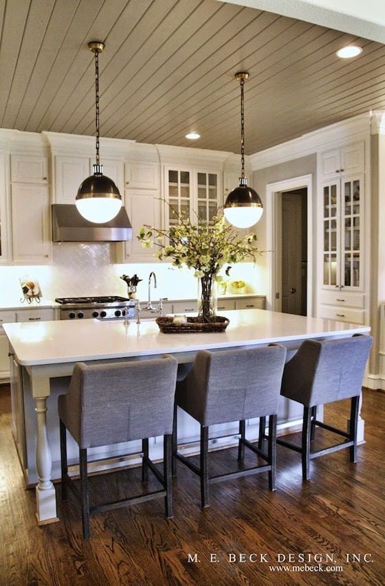 Taupe Painted Ceiling in Kitchen