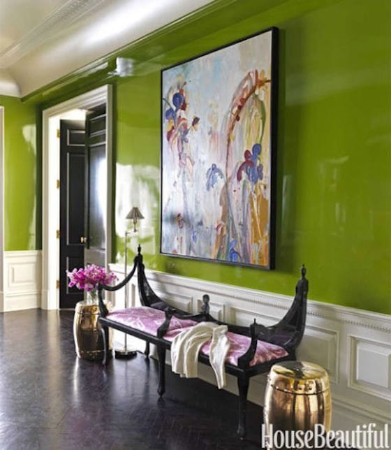 Green Lacquered Walls with White Moulding