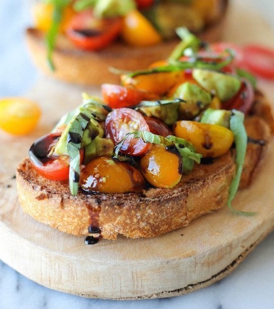 Avocado & Tomato Bruschetta with Balsamic Reduction