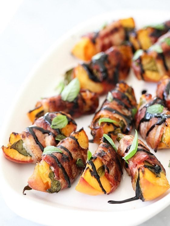 Bacon Wrapped Grilled Peaches with Balsamic Glaze
