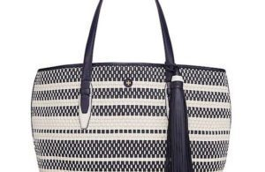 Blue and White tote by Tory Burch