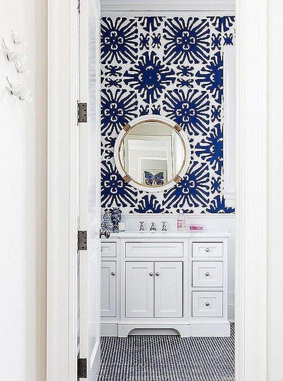 Bold Blue Patterned Wallpaper