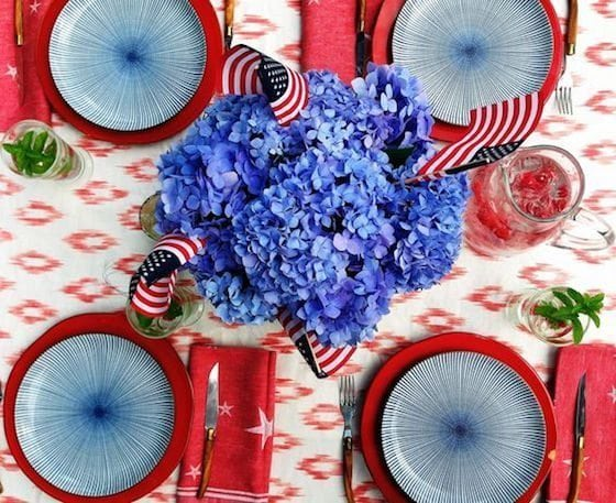 Gather blue hydrangeas for your tablescape