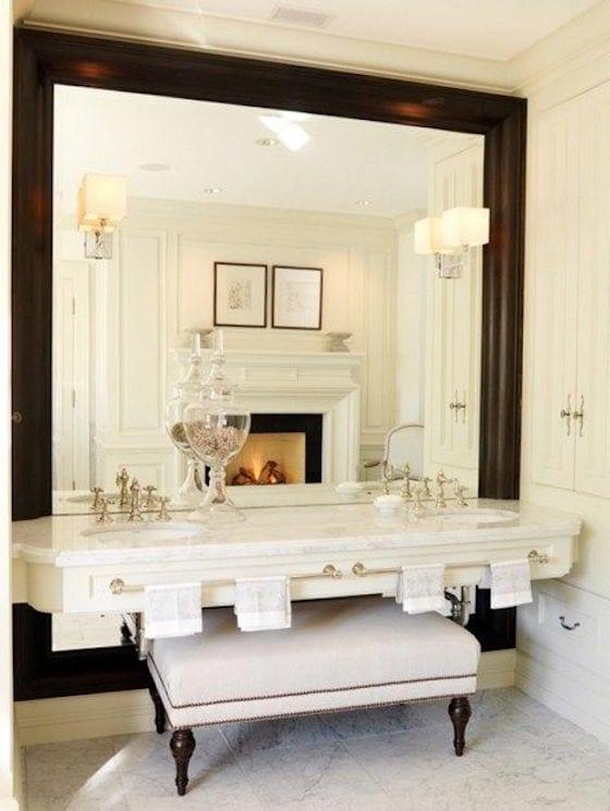 Framed Mirror in Bathroom