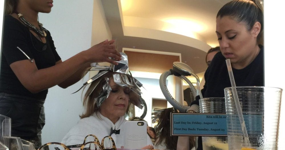 Brenda Coffee getting her hair colored by Rita Hazan