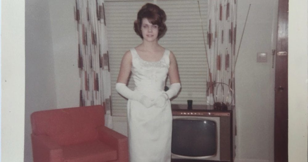Me in my High School prom dress. The dress was fine... but the hair!