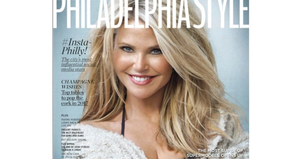 Christie Brinkley on the cover of Philadelphia Style, November, 2016