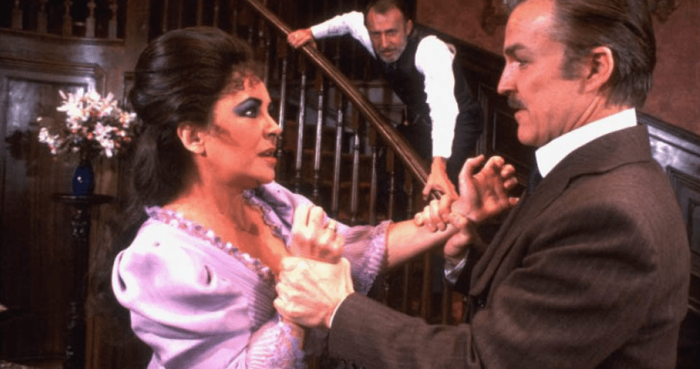 Elizabeth Taylor, Tom Aldredge and Anthony Zerbe in Lillian Hellman's 'The Little Foxes.'
