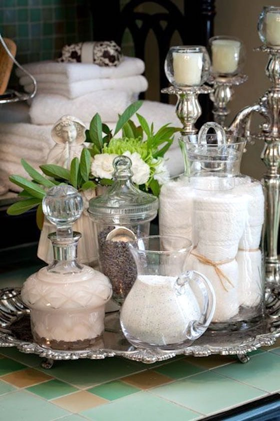 Repurposing your silver pieces in the bathroom 1010 park for Bathroom tray decor