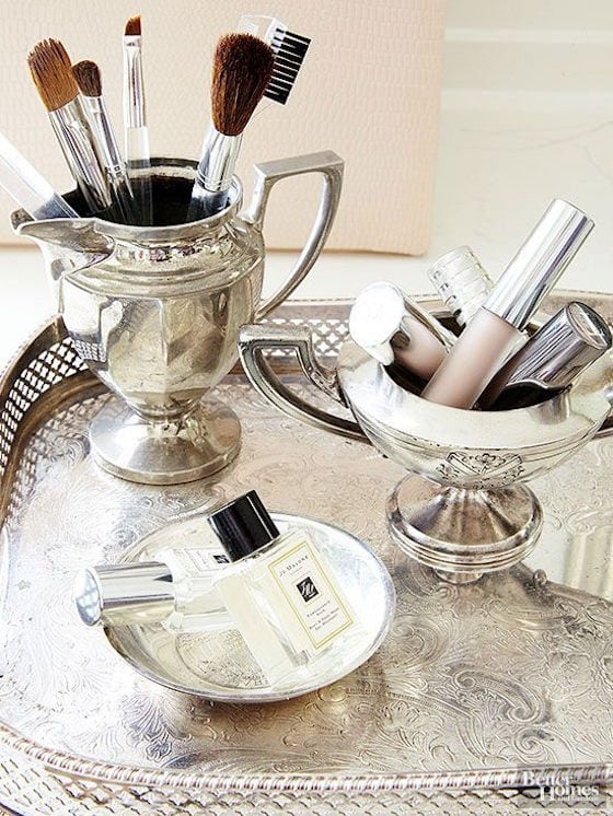 Use your silver in the bathroom to store makeup and brushes
