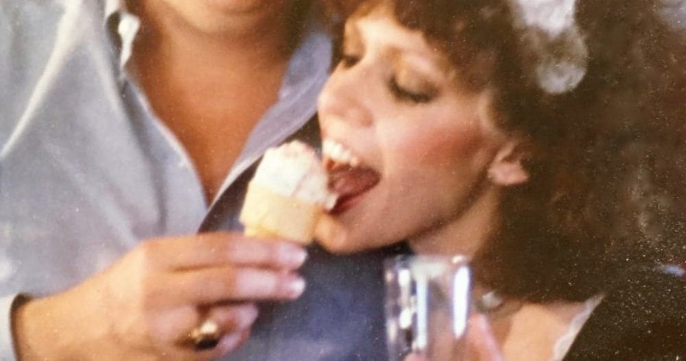 My friend and I when we were 23. I'd just won First Place at the Austin Spam-a-Rama with my 'Spam Wellington & Madera Sauce,' original recipe borrowed from Julia Child. I served it on a silver platter & was dressed in a short, French maid's outfit with black fishnets and high heels. We're eating Spamoni Ice Cream, which won Second Place. Photo by my first husband.