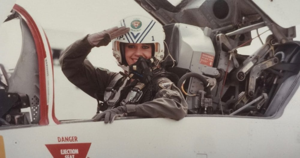 BRENDA COFFEE, AGE 24, AS A JOURNALIST, FLYING IN AN AIR FORCE FIGHTER JET. ©1010ParkPlace, 2018.